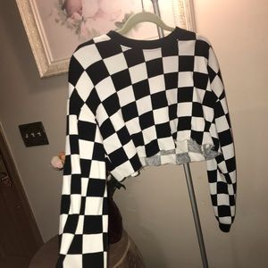 Cropped Checkerboard Long sleeve